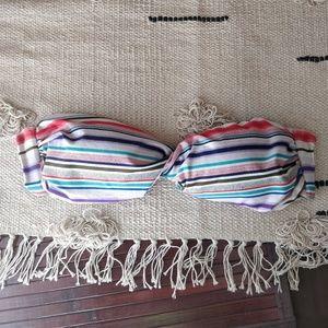 Ella Moss Rainbow Striped Twist Bikini Top L